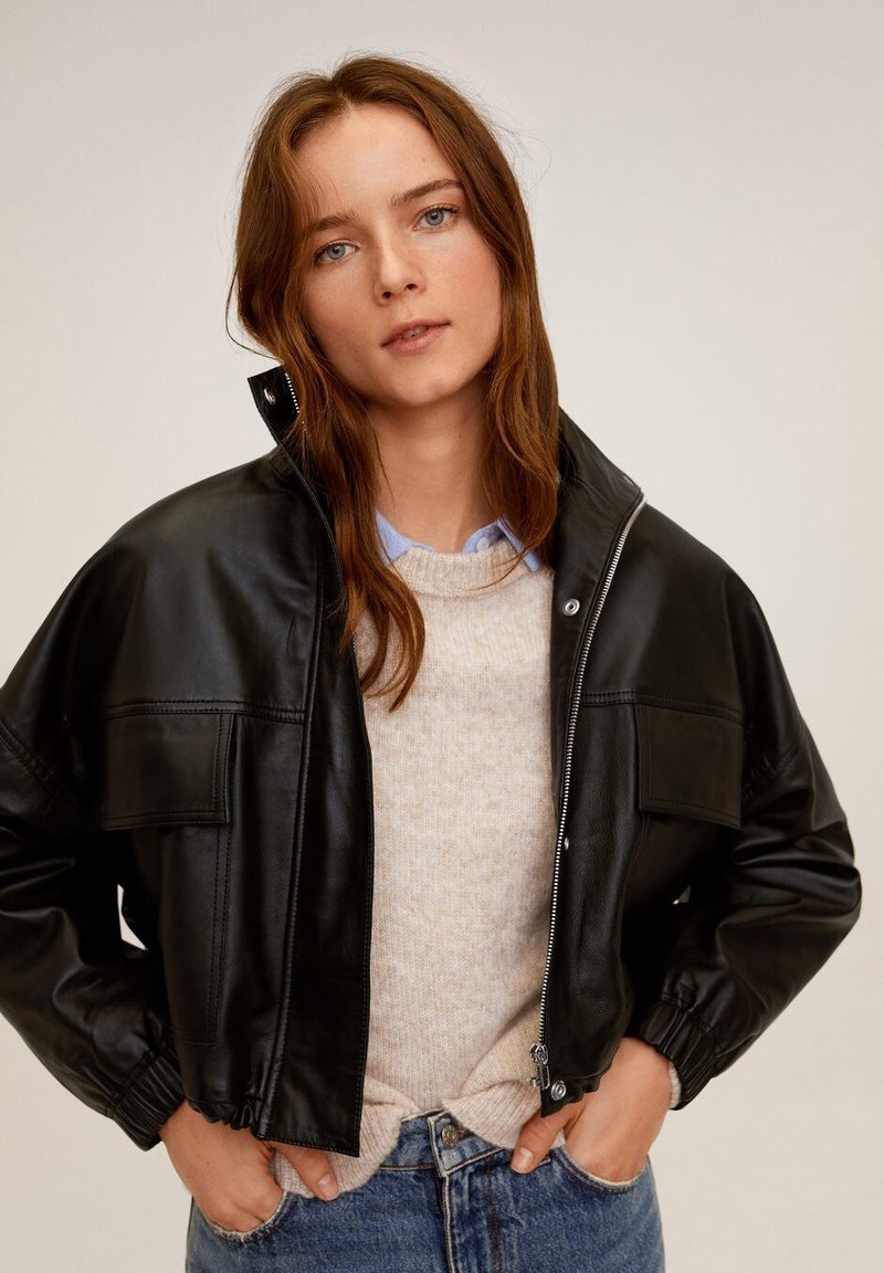 Mango - DANERIS - Leather jacket - schwarz