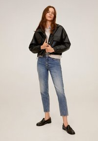 Mango - DANERIS - Leather jacket - schwarz - 1