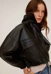 Mango - DANERIS - Leather jacket - schwarz - 6
