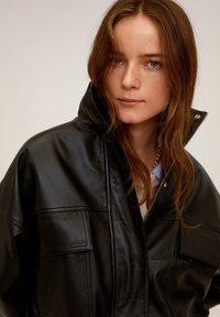 Mango - DANERIS - Leather jacket - schwarz - 5