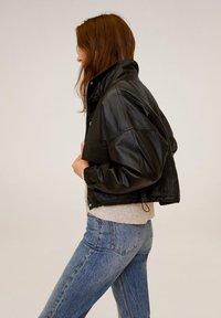 Mango - DANERIS - Leather jacket - schwarz - 3