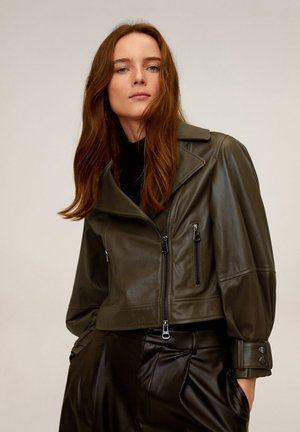 OLIVE - Leather jacket - grün