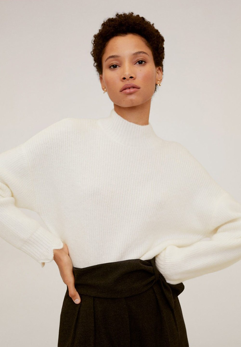 Mango SCALLOP - Sweter - white