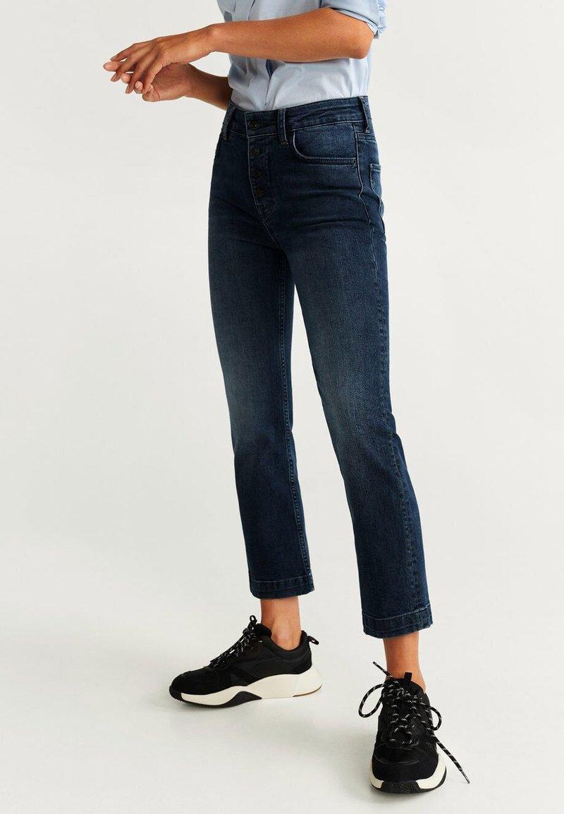 Mango - BUTTONS - Straight leg jeans - dark blue