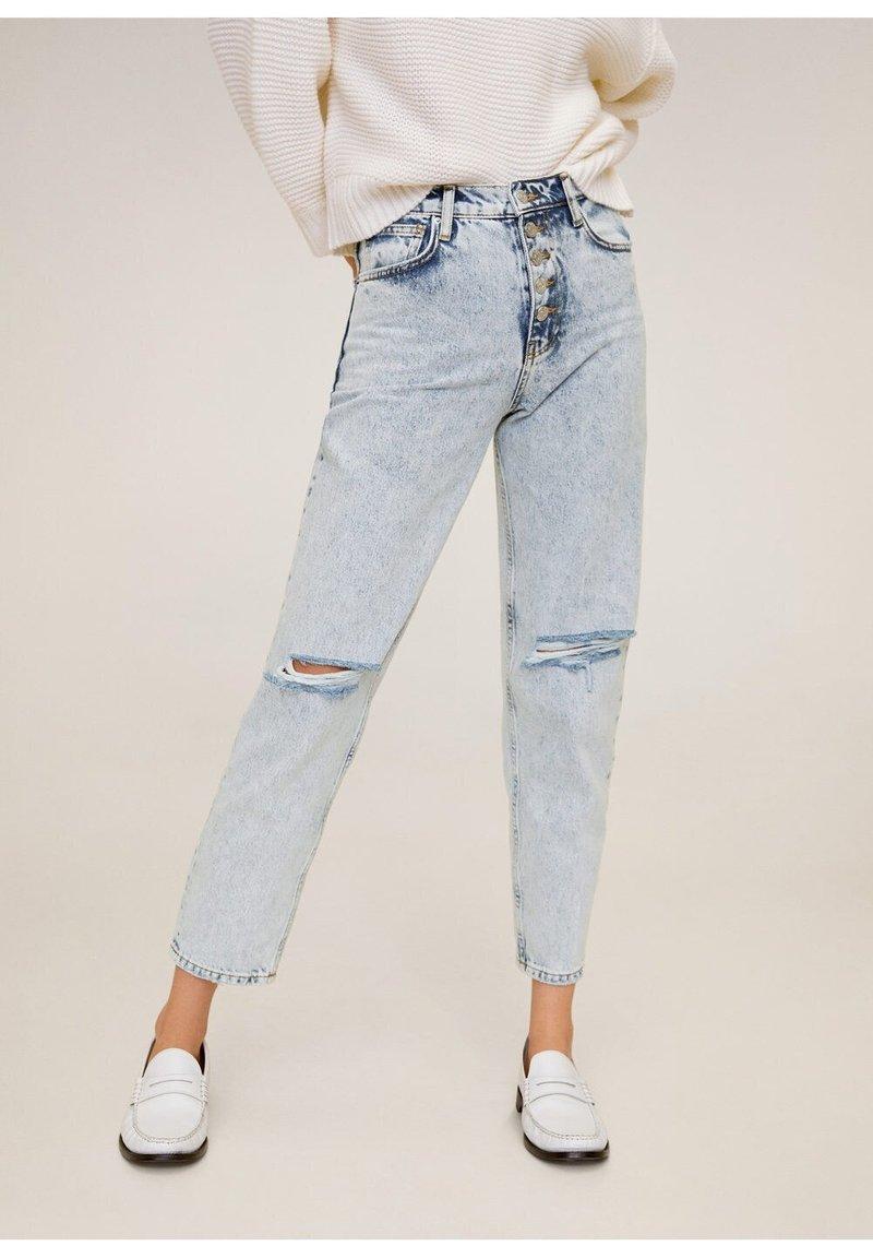 Mango - MOM - Jeansy Straight Leg - bleach-blau