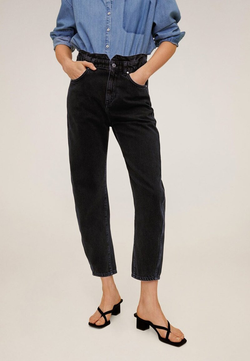 Mango - SLOUCHY - Jeansy Relaxed Fit - black denim