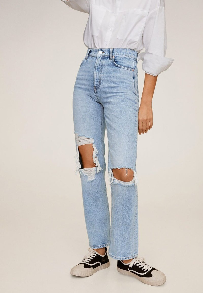 Mango - BROKENS - Straight leg jeans - medium blue