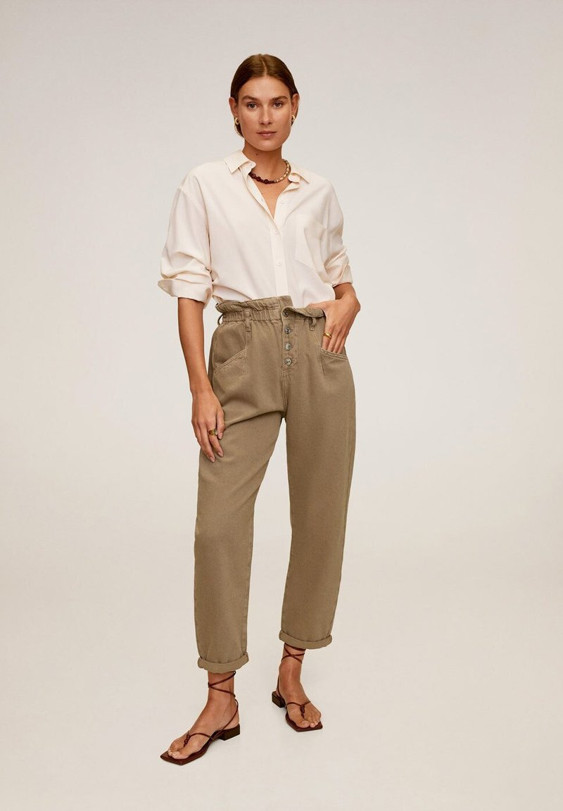Mango - PAPERBAG - Jeansy Straight Leg - brown
