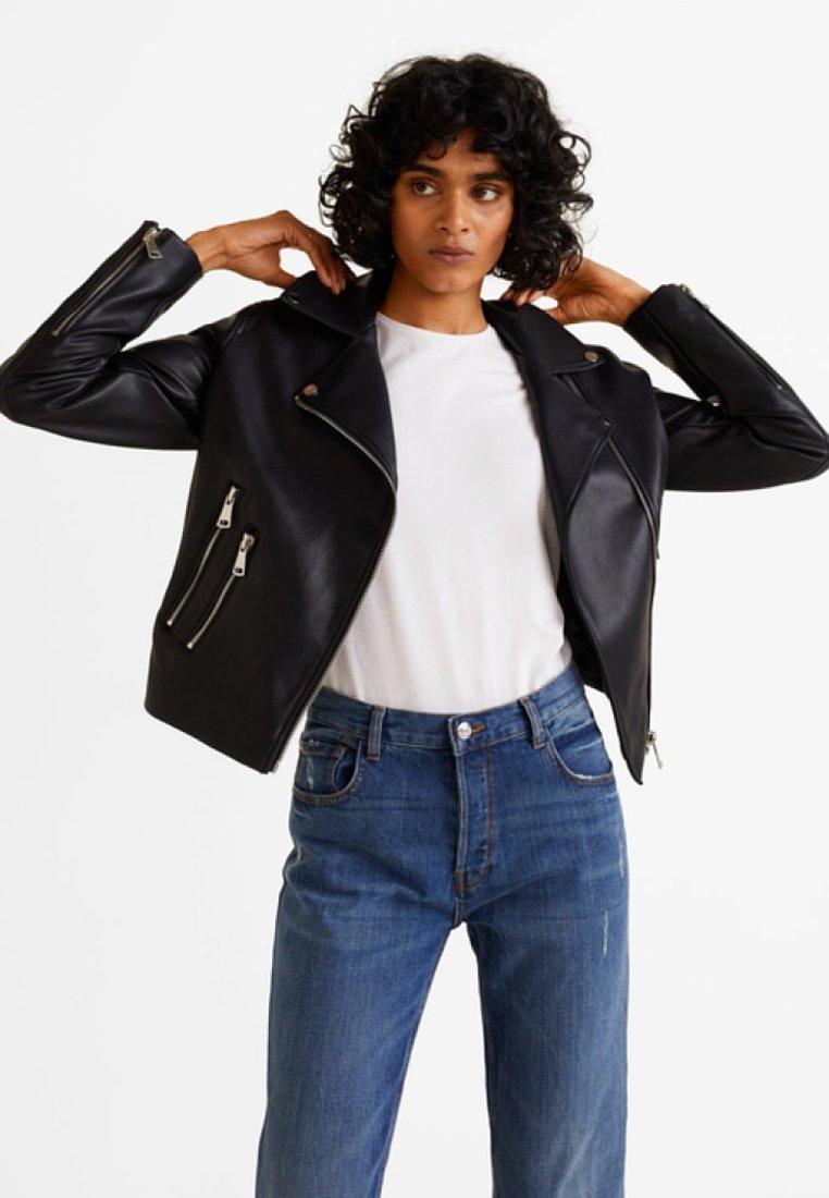 Mango - LIZ - Faux leather jacket - black