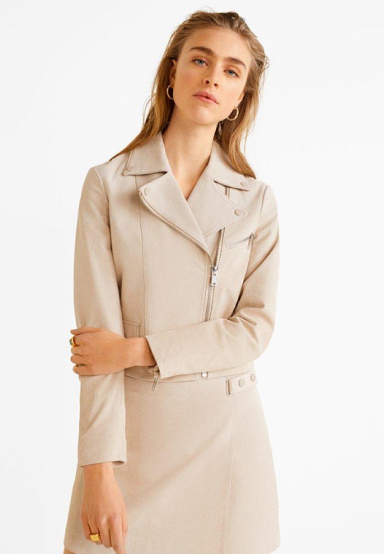 Mango - LUISA - Leather jacket - Ice Grey