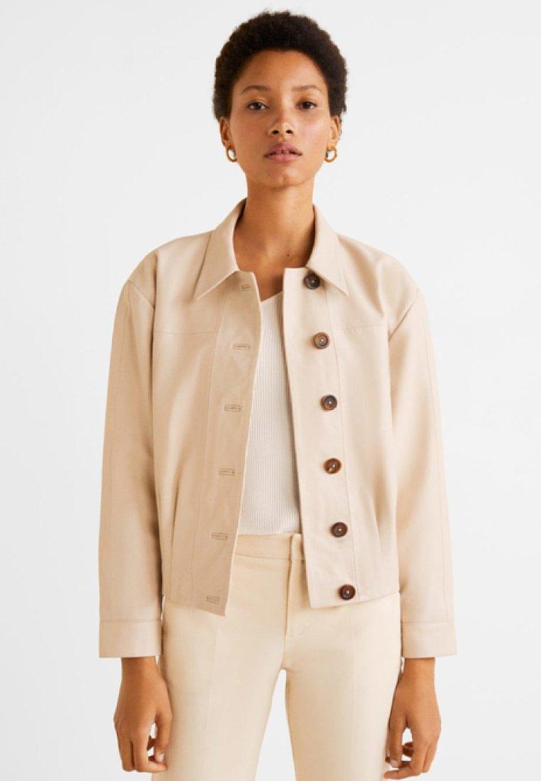 Mango - LONDRES - Leather jacket - off-white