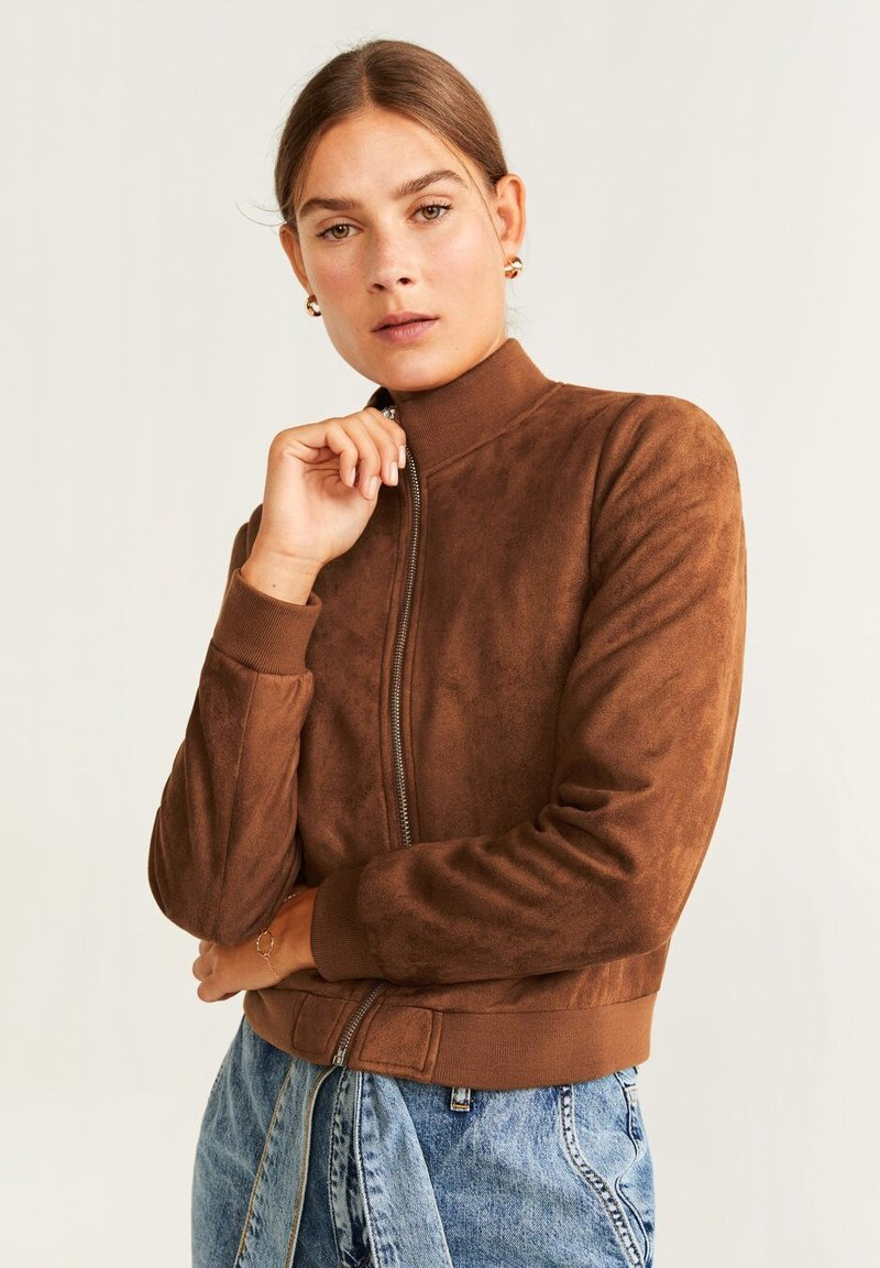 Mango - REMEMBER - Faux leather jacket - cognac