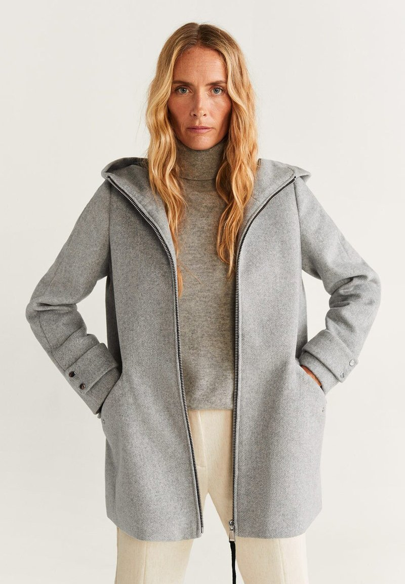 Mango - AUDREY - Short coat - mottled grey