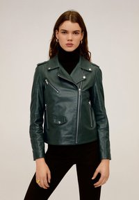 Mango - HAPPY - Leather jacket - dark green - 0