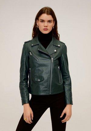 HAPPY - Leather jacket - dark green