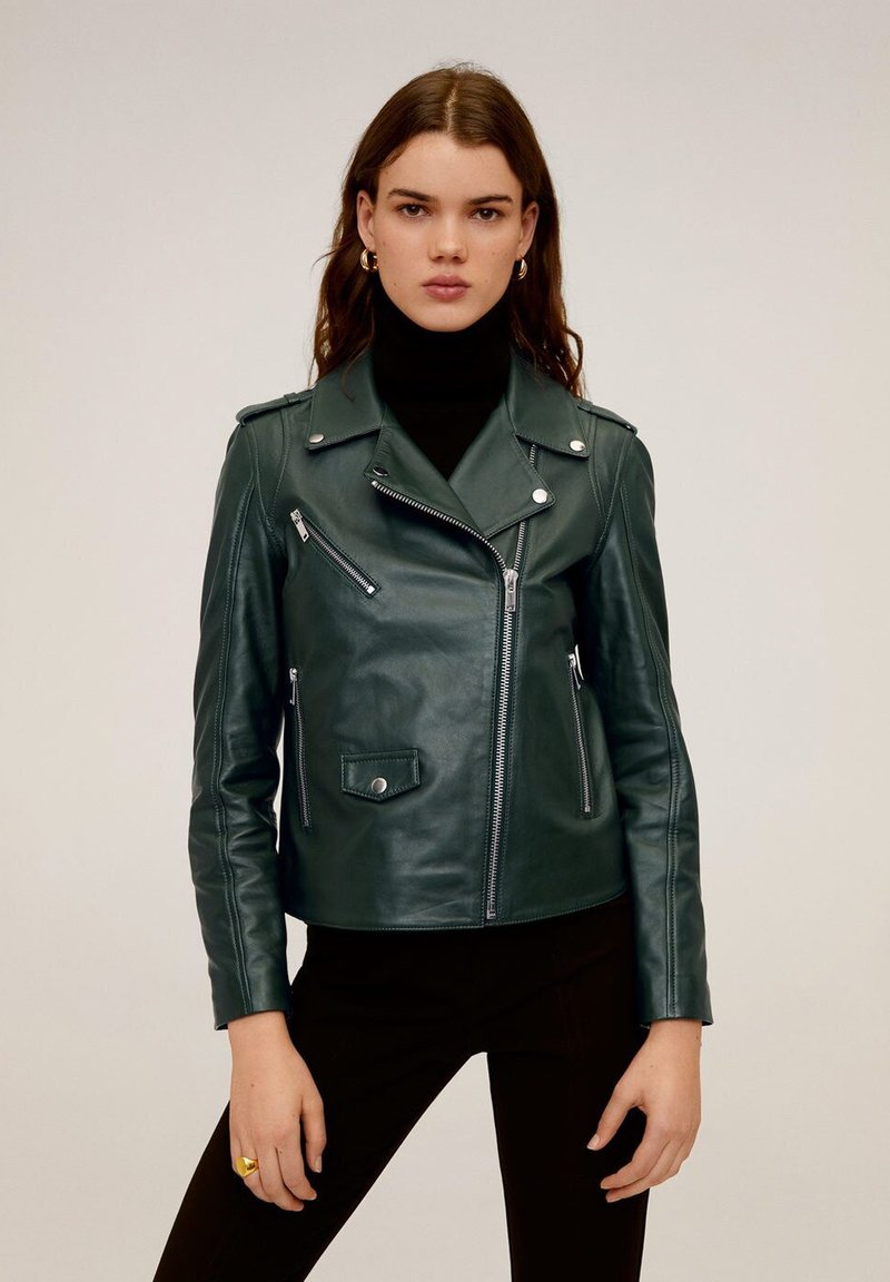 Mango - HAPPY - Leather jacket - dark green