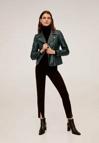 Mango - HAPPY - Leather jacket - dark green - 1