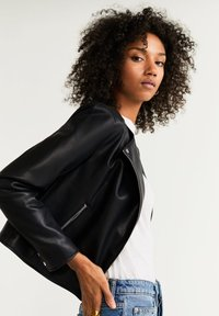 Mango - MARCMOTO - Faux leather jacket - zwart