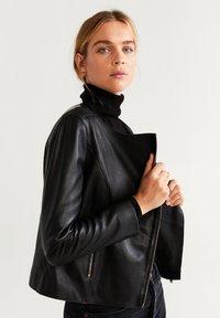 Mango - BIKERJACKE AUS LEDER - Leather jacket - schwarz - 4