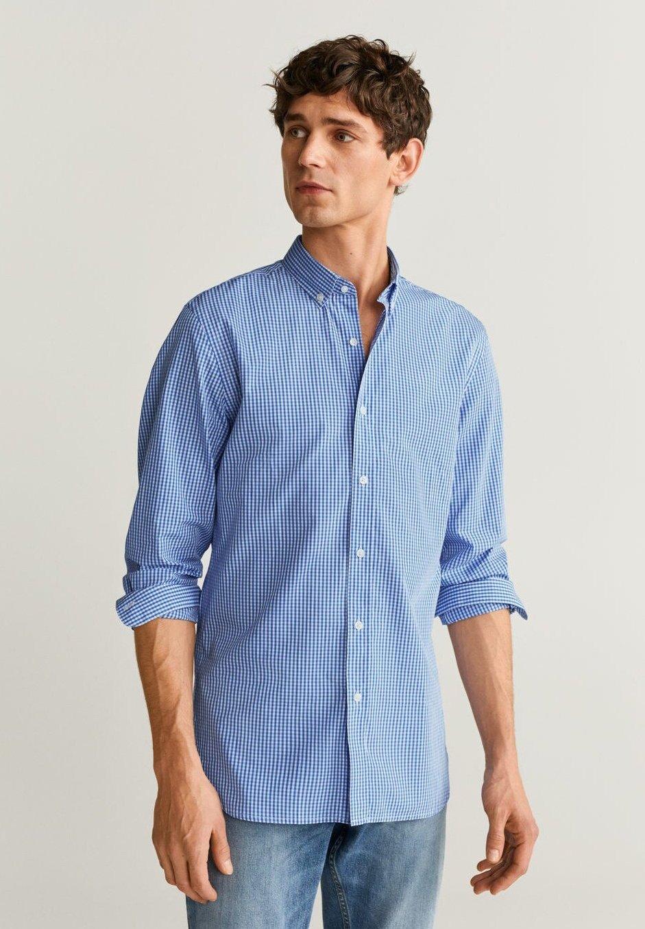 Mango VICHY - Koszula - hemelsblauw