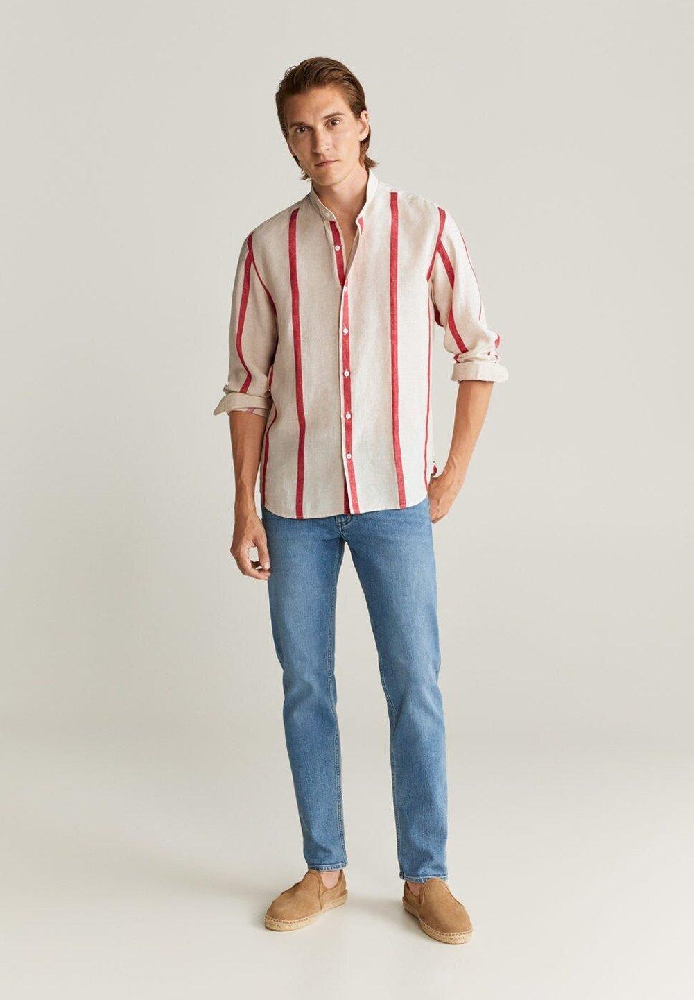 Fuchsia Slim fit skjorte i 100 % hør  MANGO  Skjorter