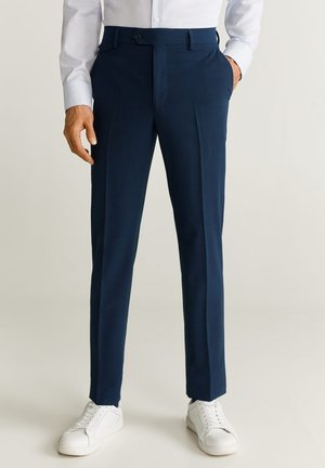 SLIM FIT ANZUGHOSE AUS WOLLSTOFF - Pantaloni eleganti - tintenblau