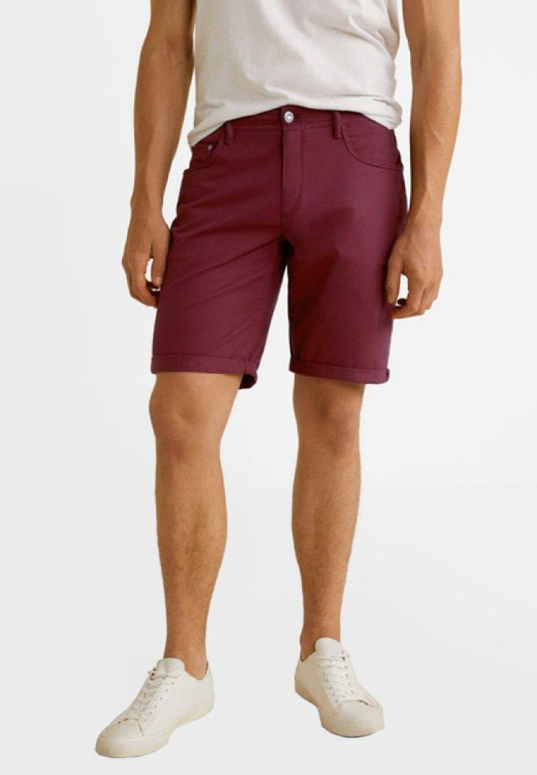 Mango - ROLLER - Denim shorts - bordeaux