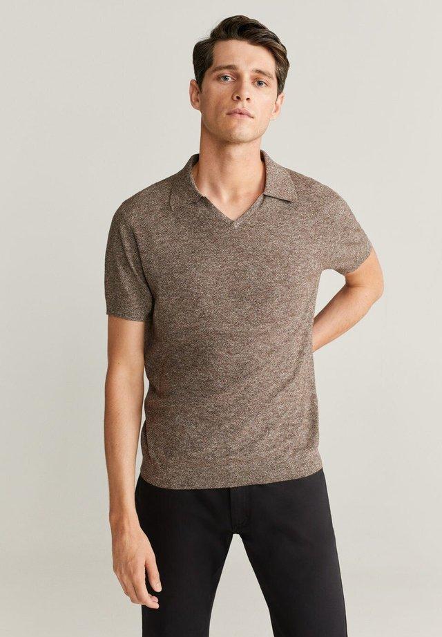 POLO COTON MAILLE JASPÉ - Basic T-shirt - marron