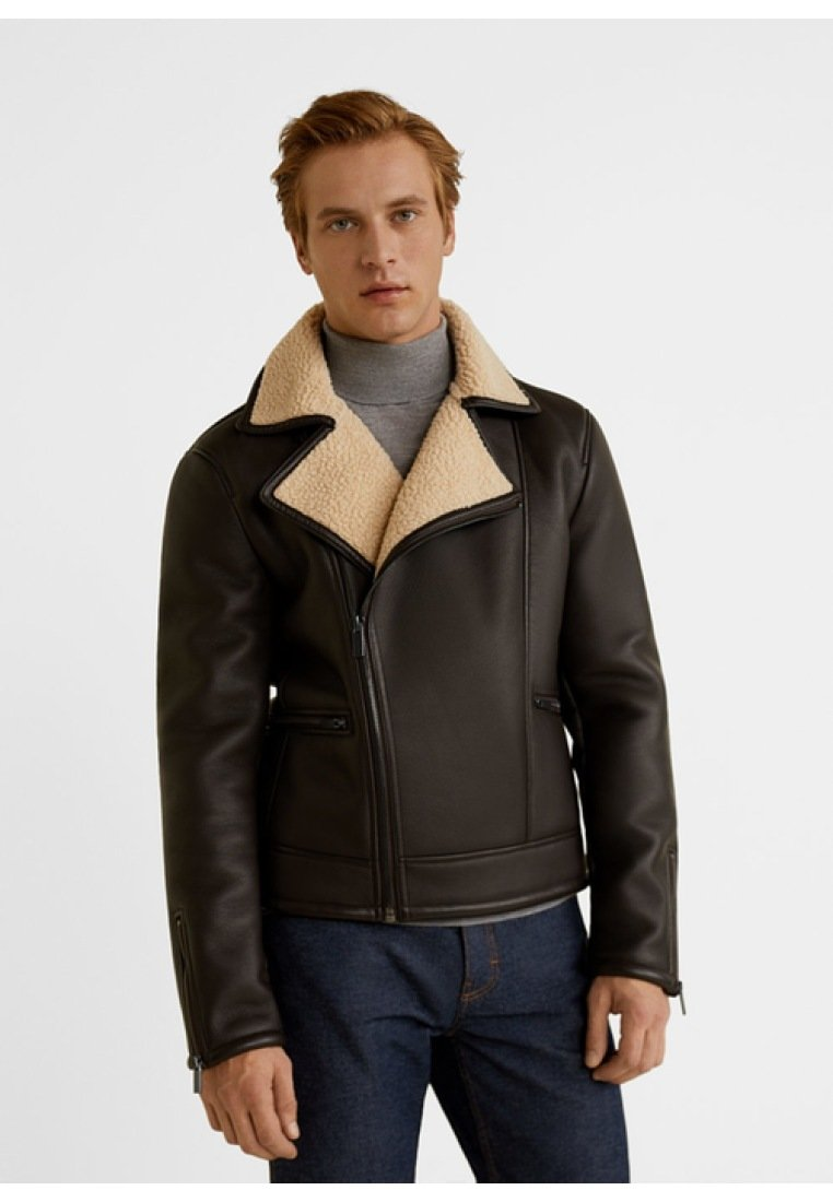 Mango - PERFE - Faux leather jacket - brown