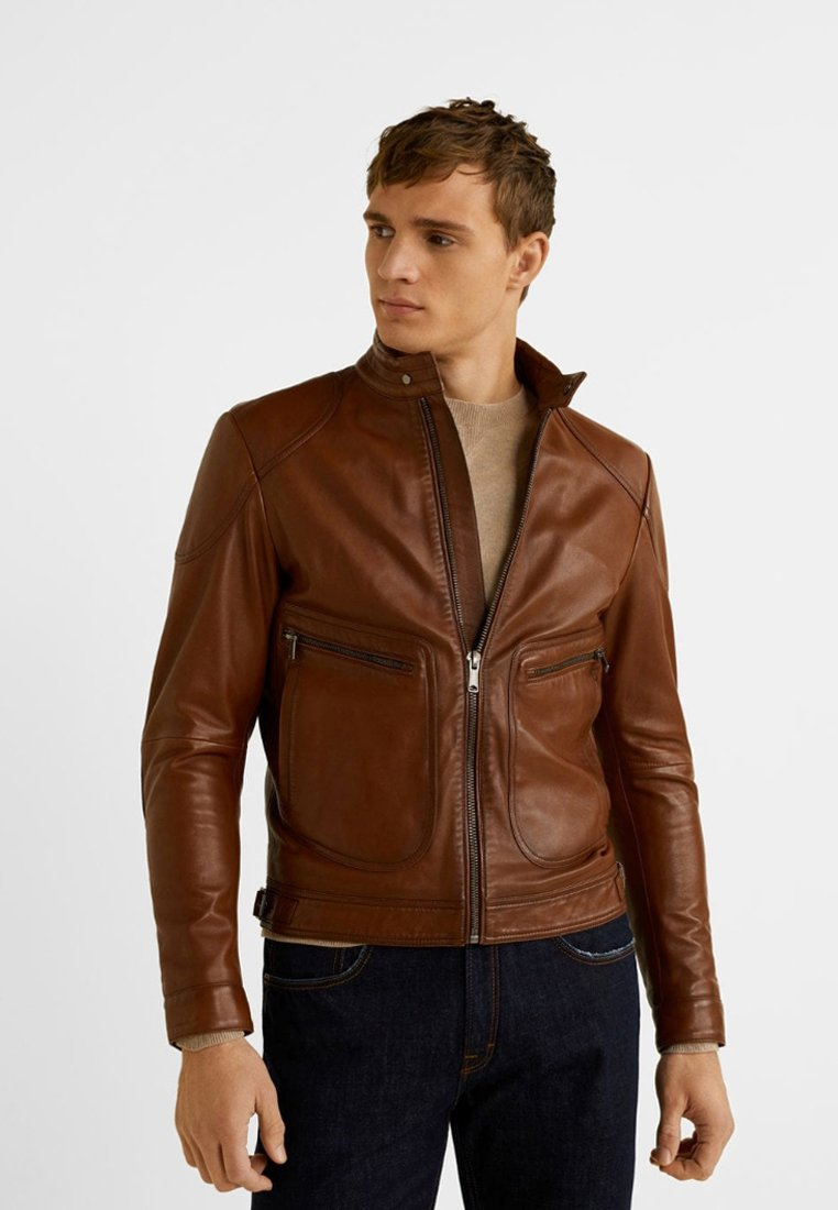 Mango - BIKER - Leather jacket - kognac