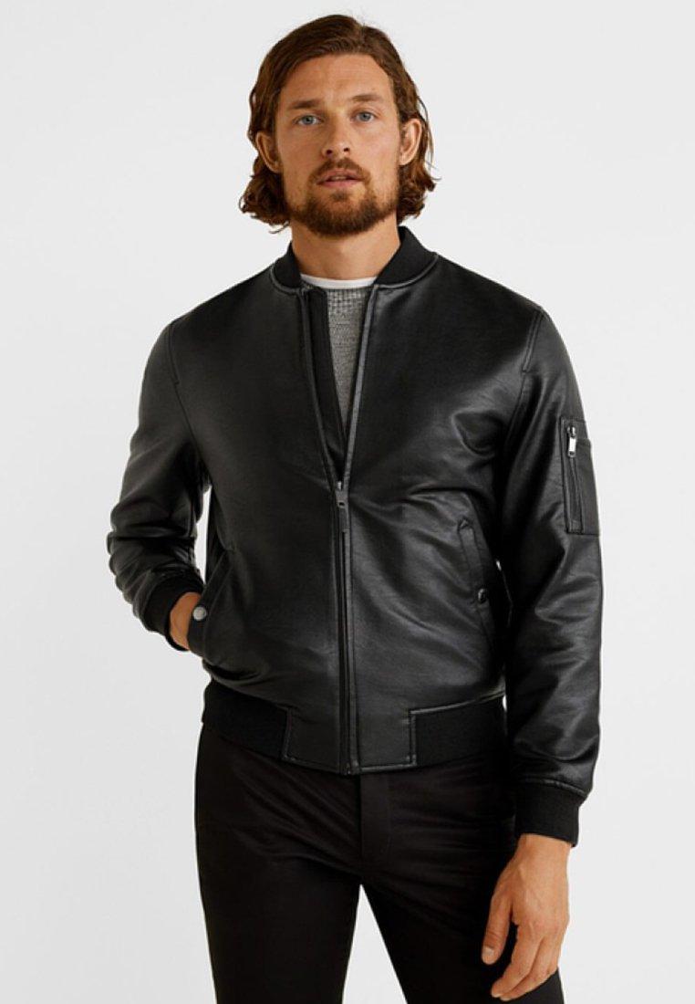 Mango - LUMP - Faux leather jacket - black