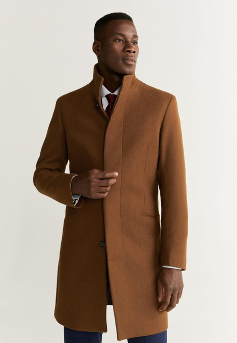 Mango - FUNNEL - Short coat - tobacco-brown