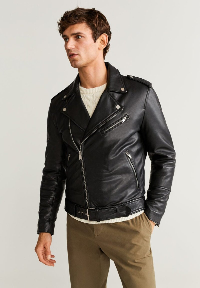 Mango - PERFECT - Leather jacket - black
