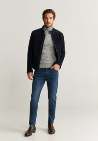 Mango - PALERMO - Leather jacket - navy blue - 1