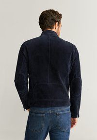 Mango - PALERMO - Leather jacket - navy blue