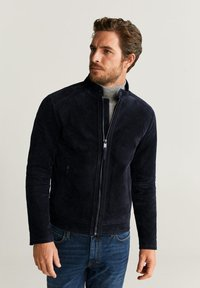 Mango - PALERMO - Leather jacket - navy blue - 0