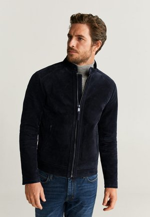PALERMO - Leather jacket - navy blue