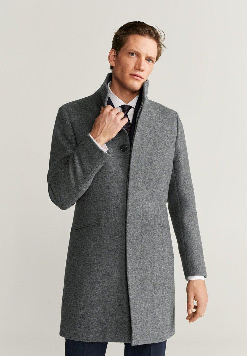 Mango - FUNNEL - Short coat - mottled medium grey