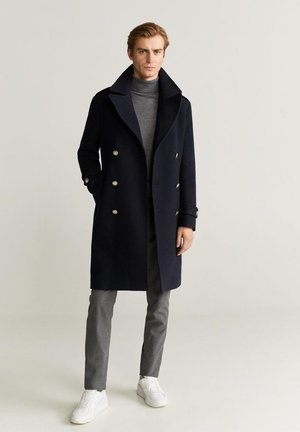 ZWEIREIHIGER TAILORED WOLLMANTEL - Classic coat - dunkles marineblau