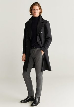 TAILORED WOLLMANTEL MIT KAROMUSTER - Classic coat - dunkelgrau meliert
