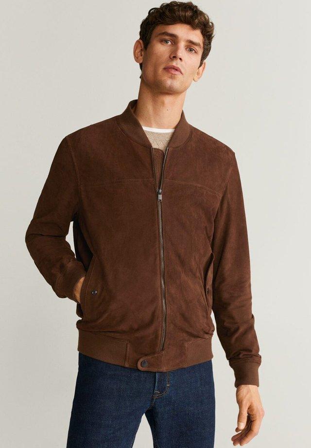 UBBE - Leather jacket - schokolade