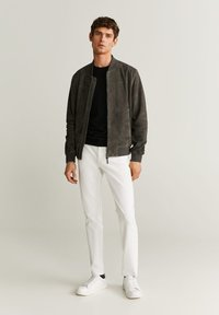 Mango - CAPE - Veste en cuir - dark gray mottled - 1