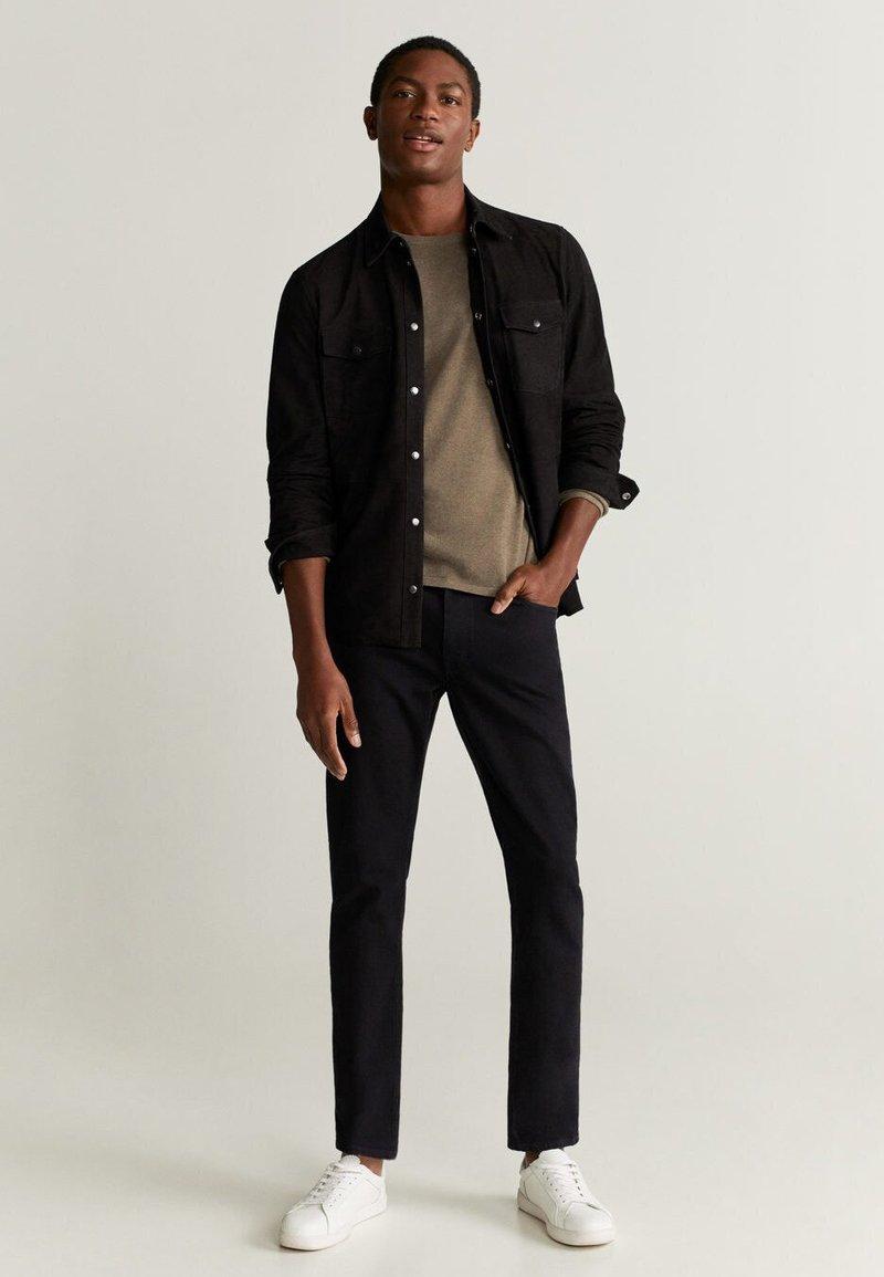 Mango - HARARE - Veste en cuir - black