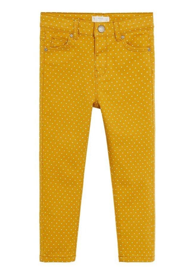 HOSE MIT POLKA DOTS - Slim fit jeans - senfgelb