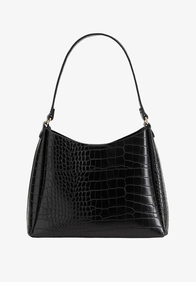 KROKODILLENLEERLOOK - Handväska - zwart