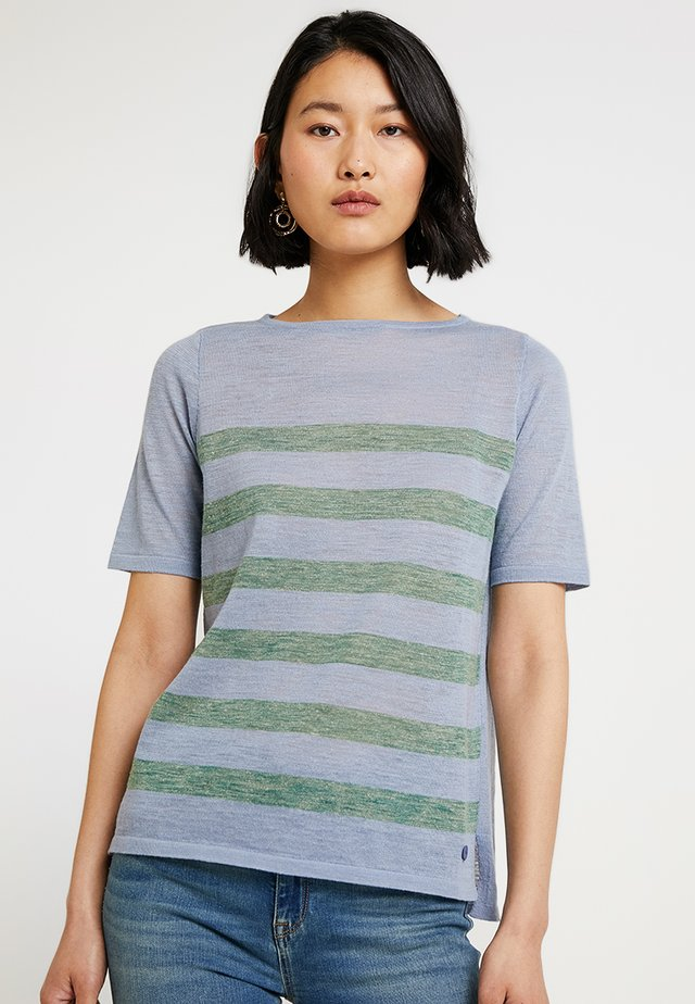 RUNDHALS - T-shirt med print - clear blue