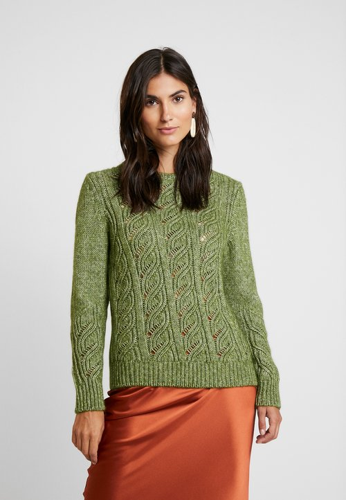 MAERZ Muenchen RUNDHALS - Sweter - bright olive Odzież Damska QKIE-LS1 60% ZNIŻKI