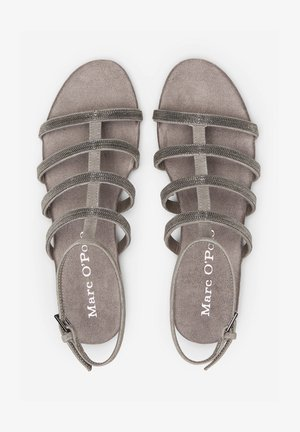 MIT PERLEN-STICKEREI - Sandals - dark grey