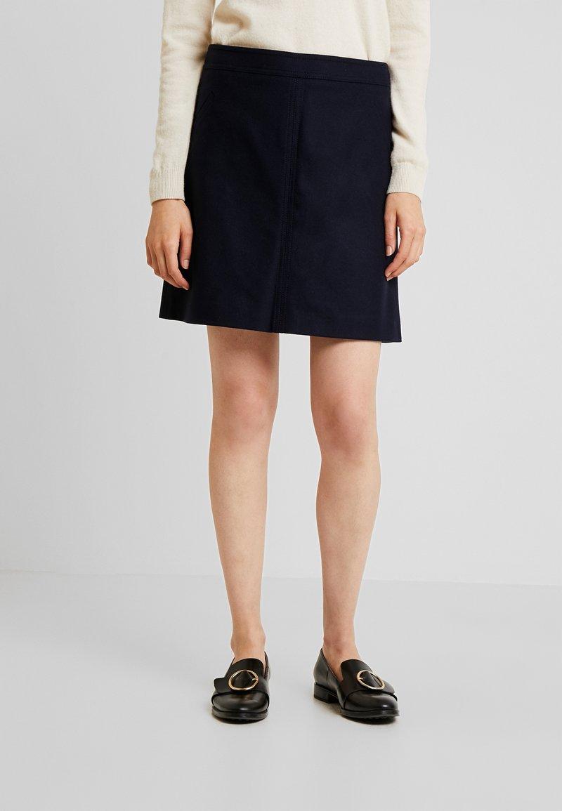 Marc O'Polo - SHORT SKIRT FEMININE CUTLINES - A-line skirt - midnight blue
