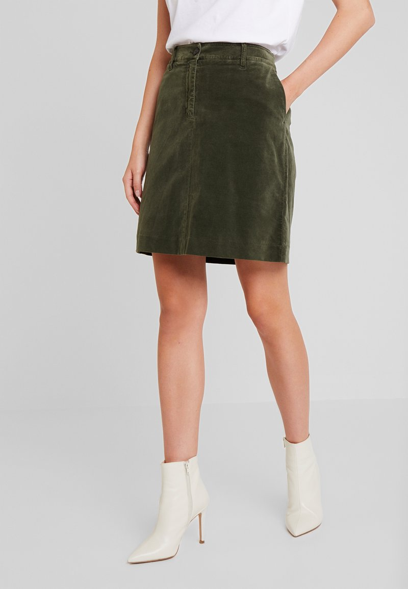Marc O'Polo - SKIRT SHORT STYLE BACKPOCKET DETAIL - A-line skirt - workers olive